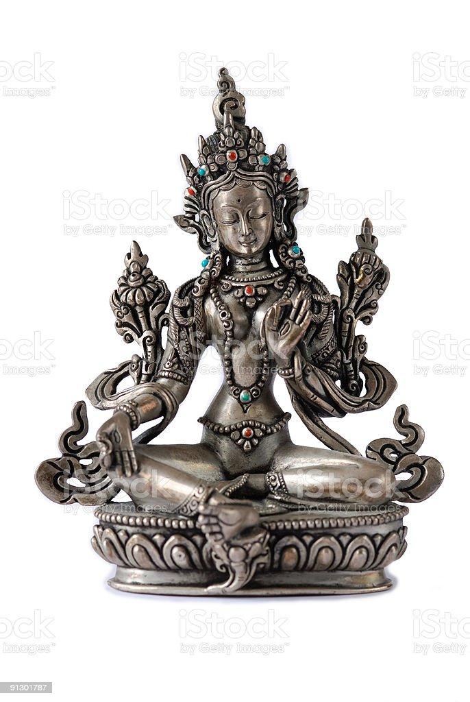 Tibetan Green Tara in silver stock photo