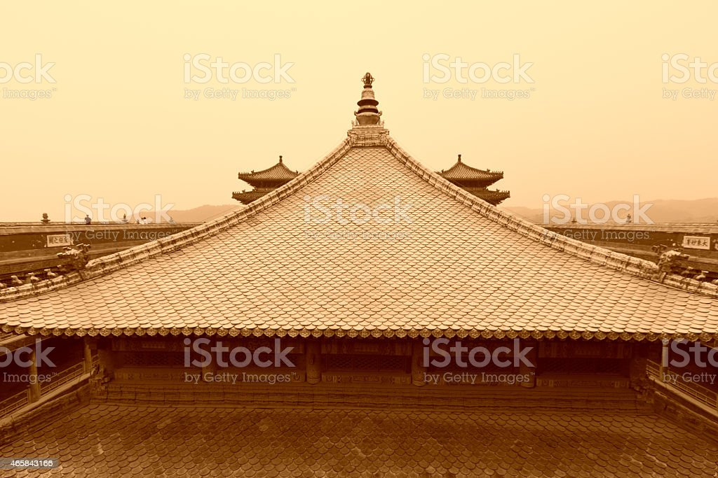 Tibetan hall in landscape architecture of an ancient temple, Che stock photo