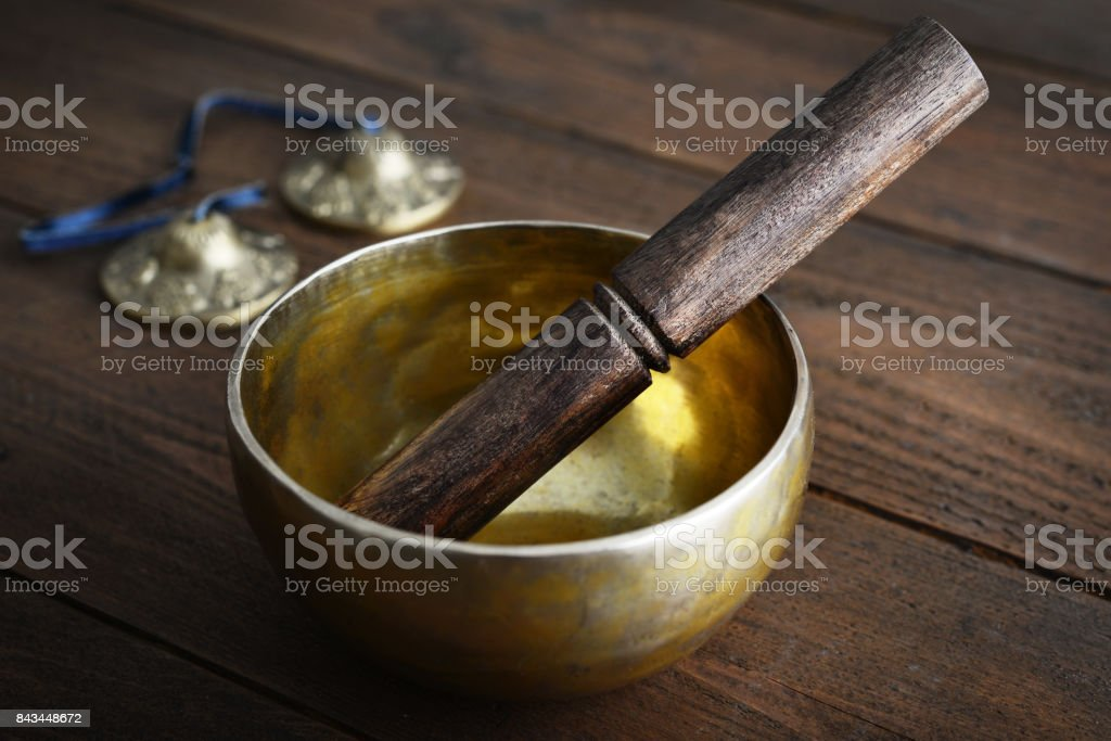 Tibetan handcrafted singing bowl stock photo