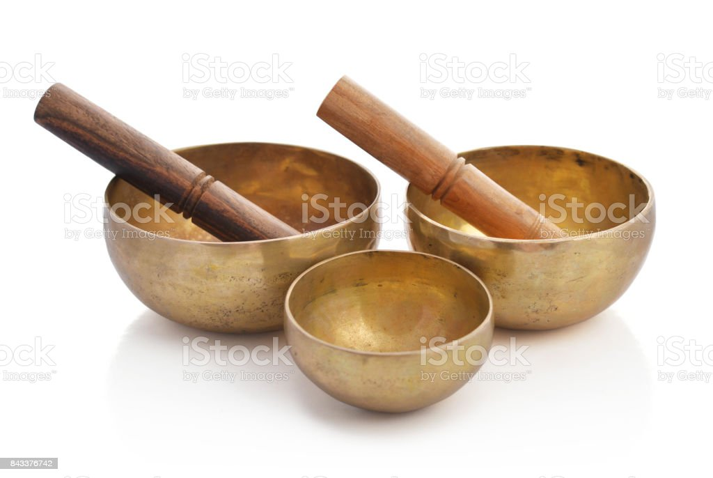 Tibetan handcrafted singing bowls stock photo