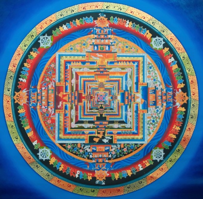 This Tibetan Kalachakra mandala has been painted on the monastery in Nepal.You can find more  images from Nepal here :