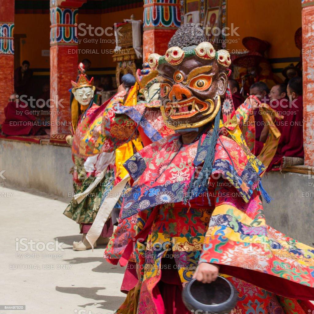 4e4229416 Tibetan lama dressed in mask dancing Tsam mystery dance on Buddhist  festival at Hemis Gompa. Ladakh, North India - Stock image .