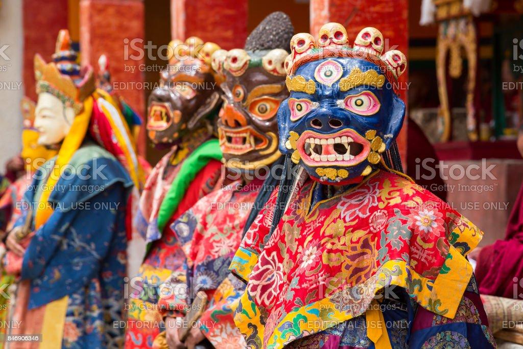 05782d87e Tibetan lama dressed in mask dancing Tsam mystery dance on Buddhist  festival at Hemis Gompa.