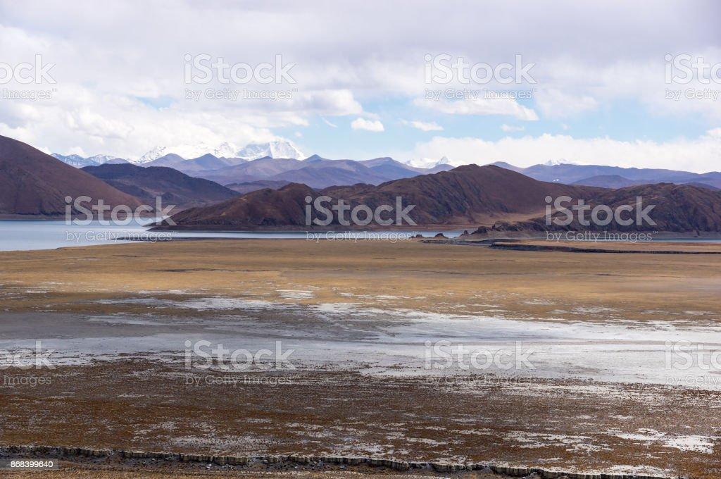 Tibetan landscape near holy lake Yamdrok - Tibet stock photo