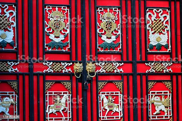 Colorful main door in Sichuan, China. Tibetan architecture is always colorful. There are many vignettes.