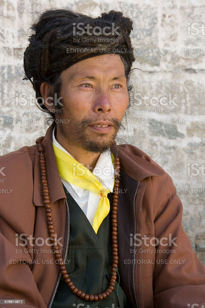 Tibetan Man - Tibet - China stock photo