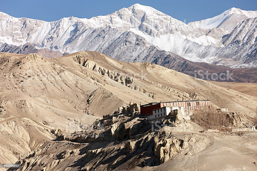 Tibetan monastry in himalayan mountains, near Lo Manthang, Mustang, Nepal stock photo