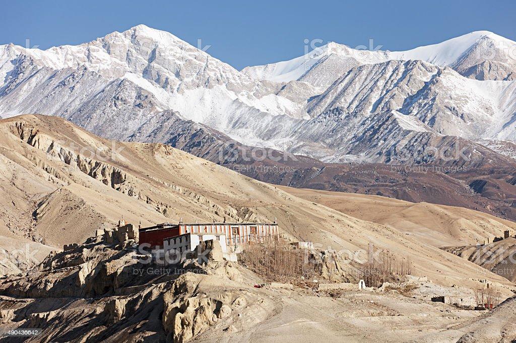 Tibetan monastry in himalayan mountains, near Lo Manthang stock photo