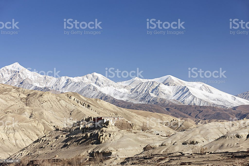Tibetan monastry in himalayan mountains. royalty-free stock photo