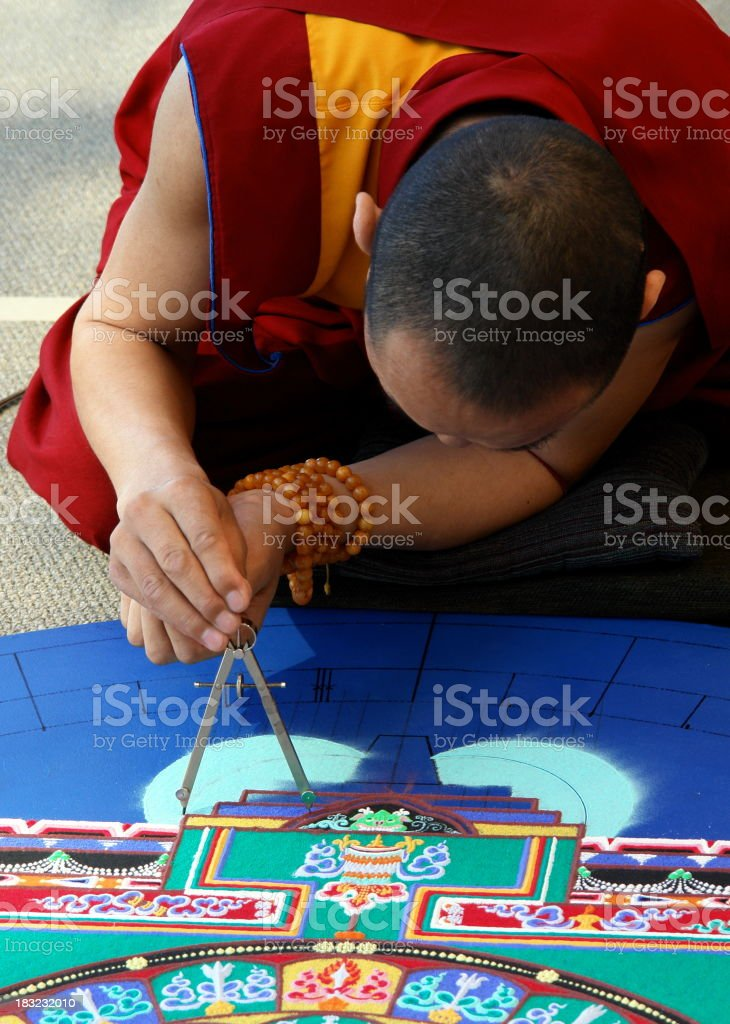 Tibetan Monk Creating Mandala royalty-free stock photo