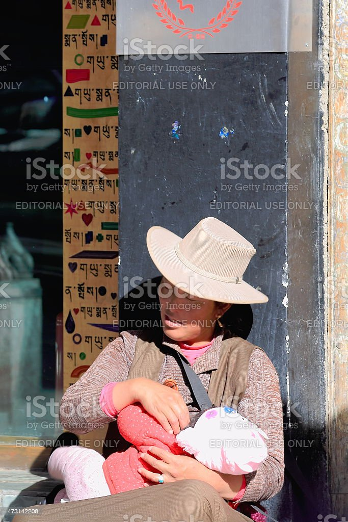 Tibetan mother and babychild. Lhasa-Tibet. 1446 stock photo