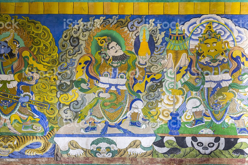Tibetan painting on monestery ceiling royalty-free stock photo