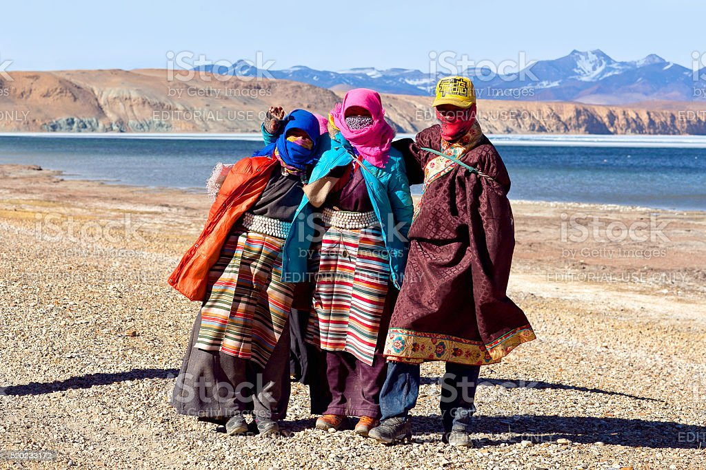 Tibetan pilgrims stock photo