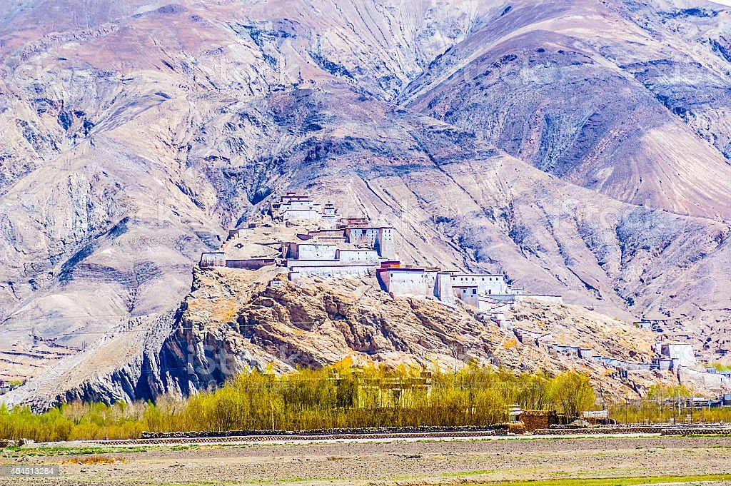 Tibetan plateau scene-Gyangtse Zongshan Ancient castle stock photo