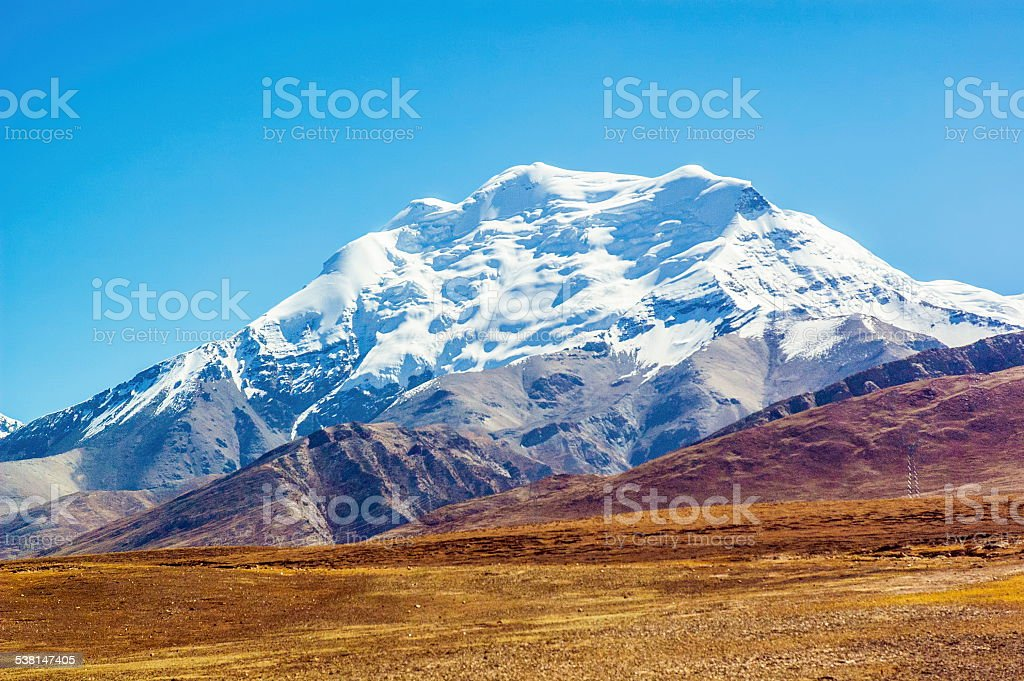 Tibetan plateau scene-Snow Mountain stock photo