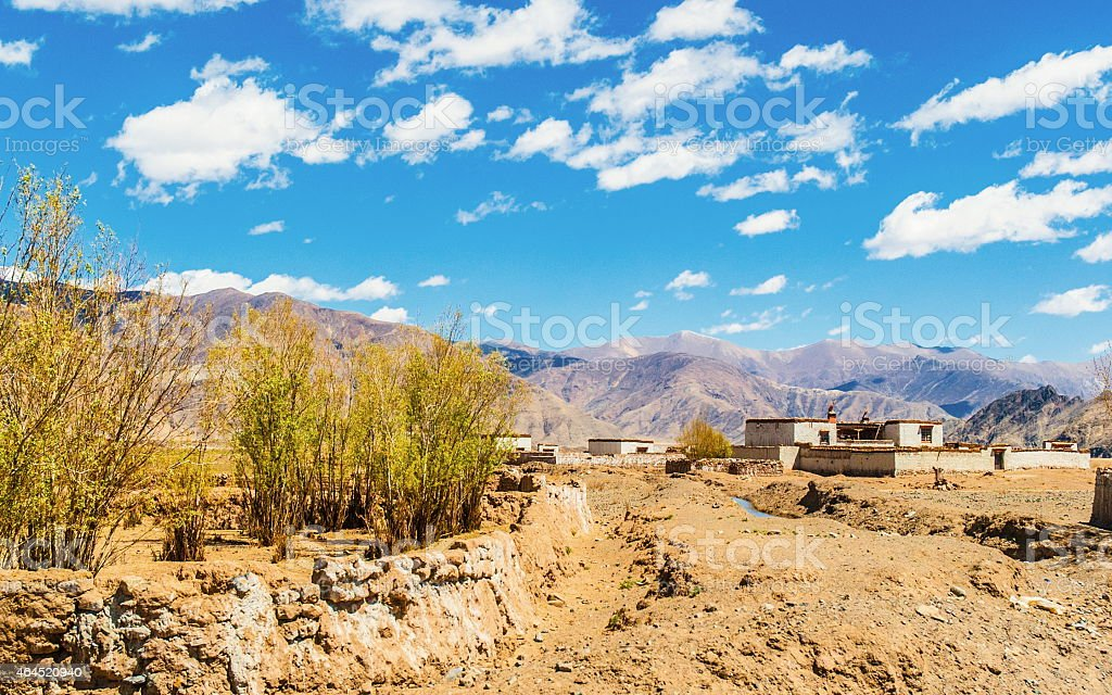 Tibetan plateau scene-Tibet agricultural region village stock photo