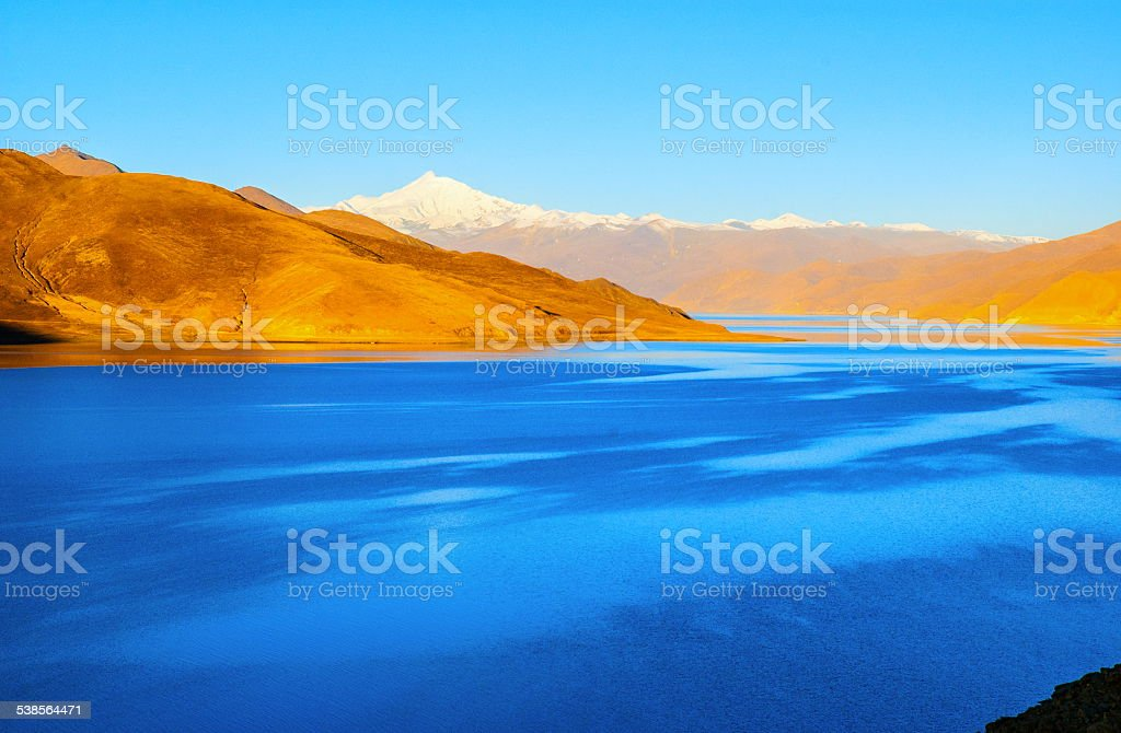 Tibetan plateau scene-Yamzho Yumco(yangzhoyong lake) stock photo