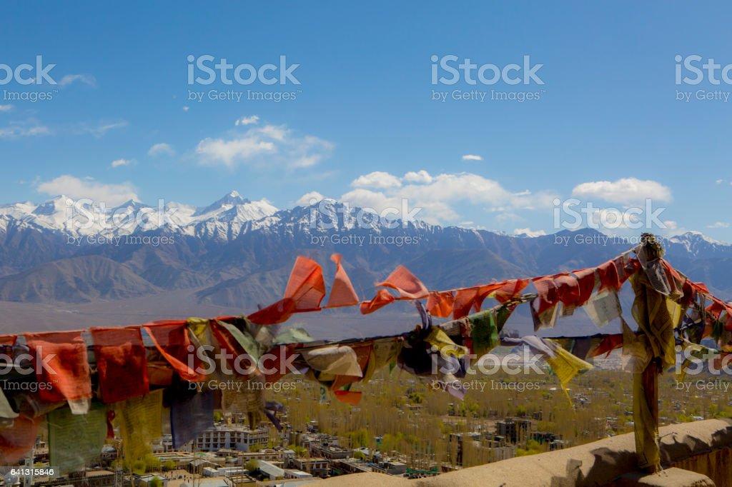 Tibetan prayer flags at Shey Palace, Ladakh, India stock photo