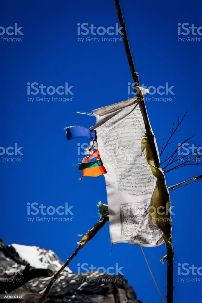 Tibetan Prayer Flags attached to Pole along Vertical edge stock photo