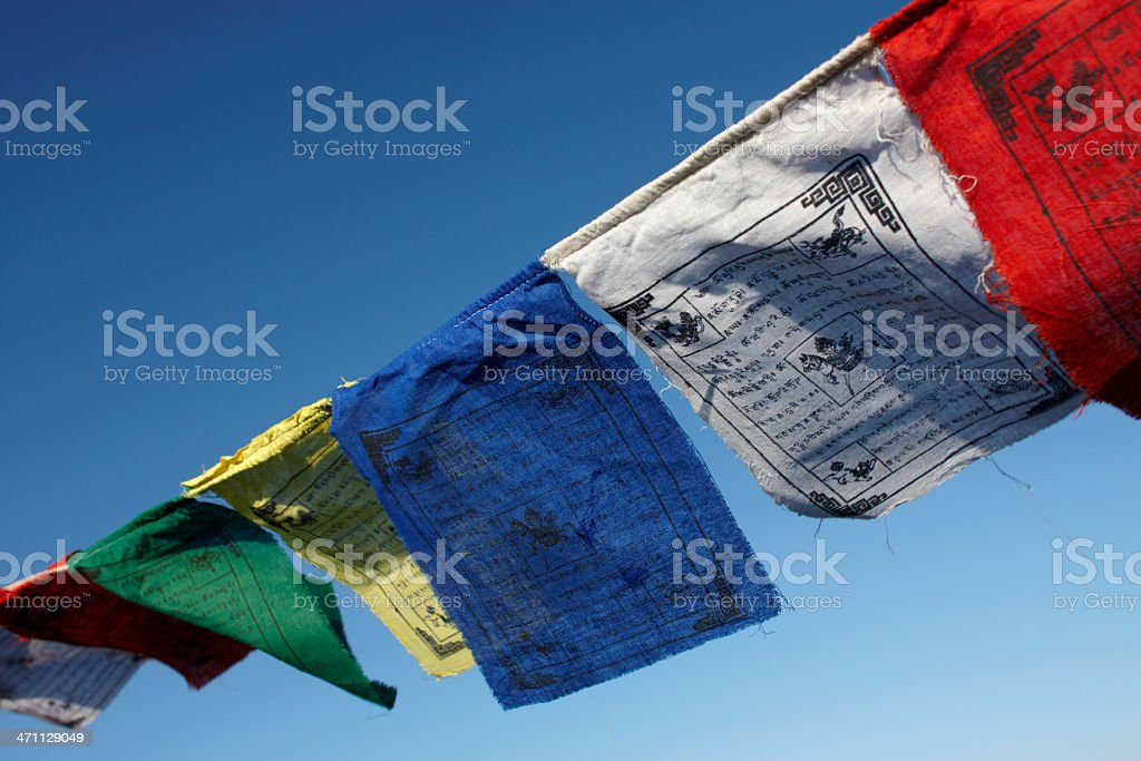 Tibetan Prayer Flags in the Breeze stock photo