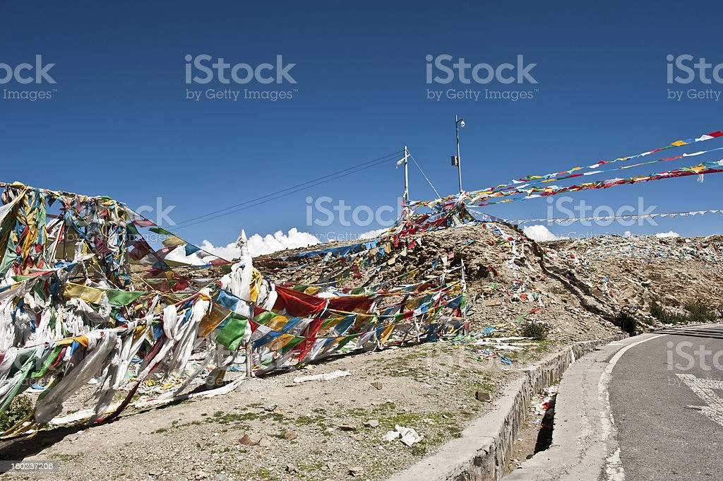 Tibetan Prayer Flags With Blue Sky royalty-free stock photo