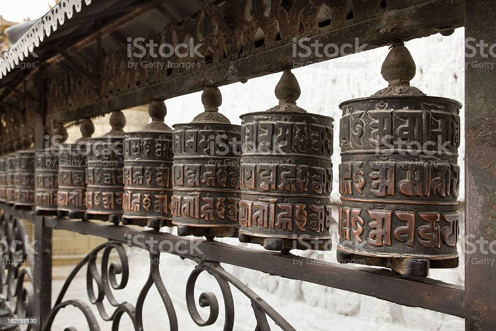 Tibetan prayer mills royalty-free stock photo