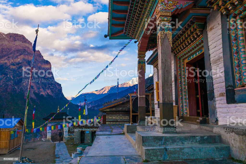 Tibetan Prayer Monastery Buddhists Village.Himalaya Mountains. Horizontal Photo. Nobody стоковое фото