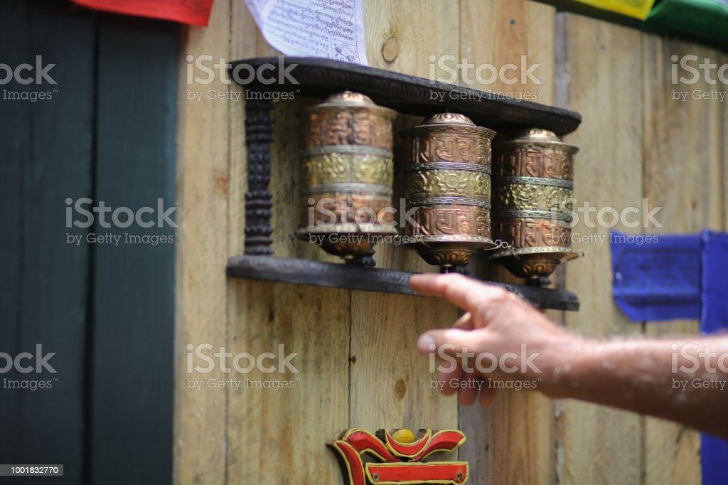 Tibetan Prayer Wheel Buddhist Mani Wheel Om Mani Padme Hum Stock