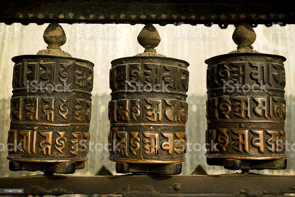 tibetan prayer wheel nepal royalty-free stock photo