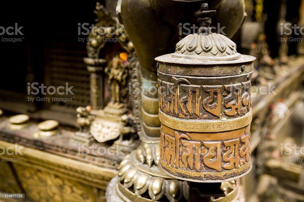 tibetan prayer wheel nepal stock photo