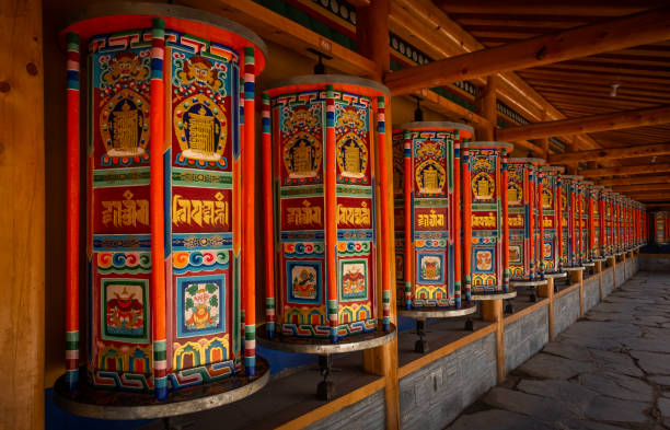 Tibetan prayer wheels, Labrang Monastery, Xiahe Tibetan prayer wheels at the Labrang Monastery at Xiahe, Gansu province, China. circumambulation stock pictures, royalty-free photos & images