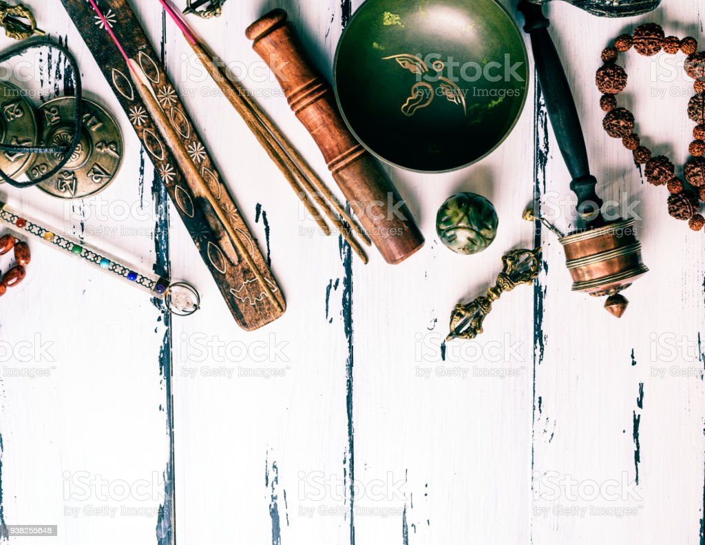 Tibetan religious objects for meditation and alternative medicine stock photo