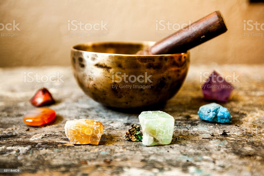 Tibetan Singing Bowl and Gemstones stock photo