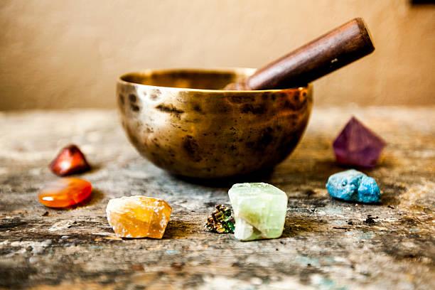 Tibetan Singing Bowl and Gemstones stock photo