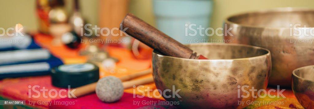 Tibetan singing bowl stock photo