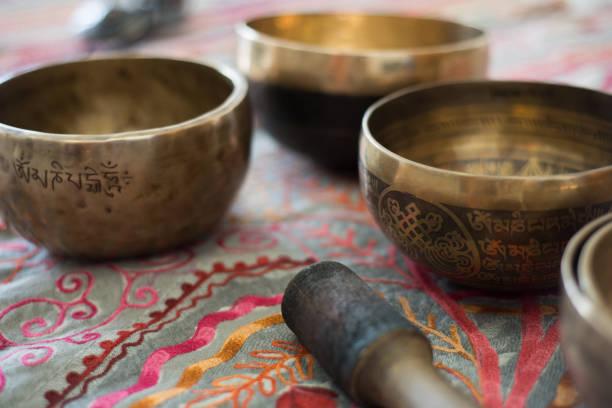 Tibetan singing bowls for meditation stock photo