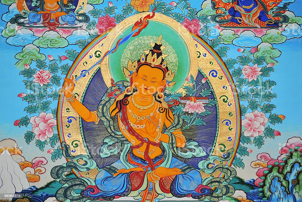 Tibetan Thangka of Manjusri stock photo