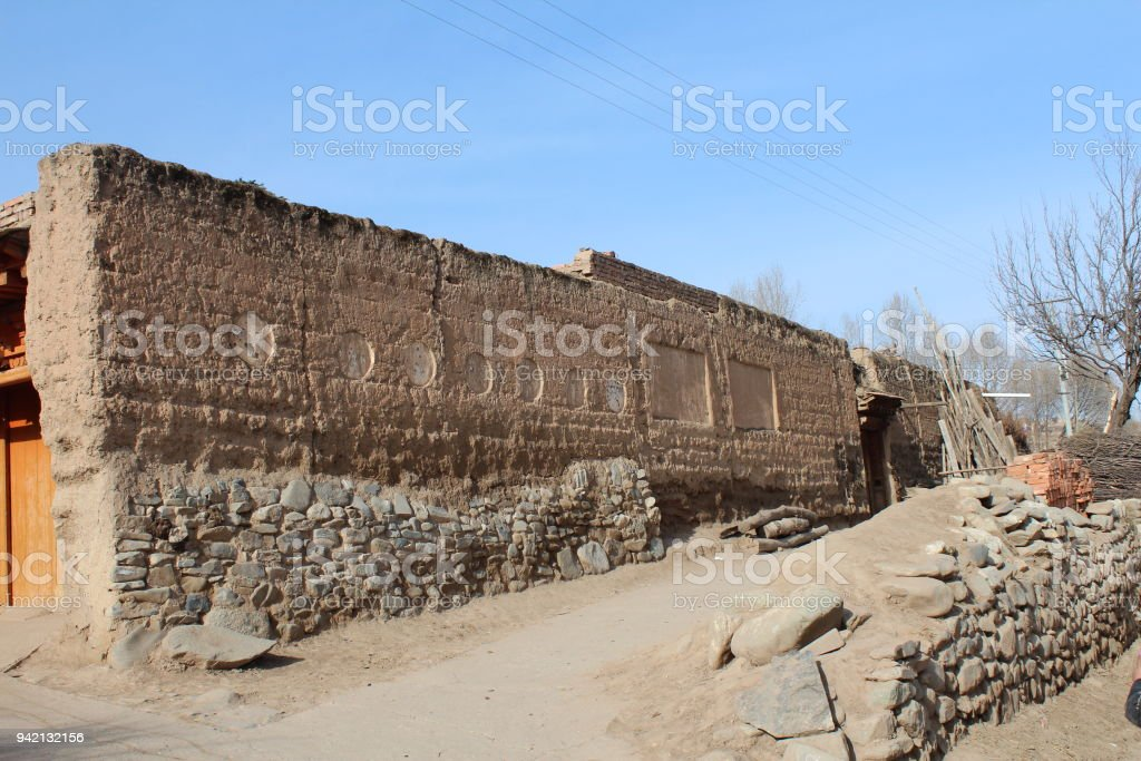 Tibetan Village House Outer Wall stock photo