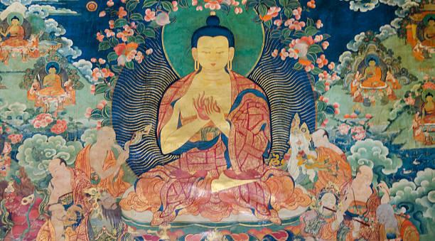 Tibetano pared aire libre - foto de stock