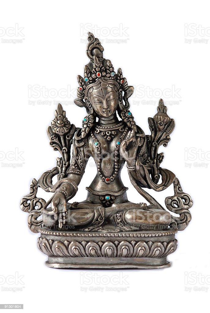 Tibetan White Tara in Silver stock photo