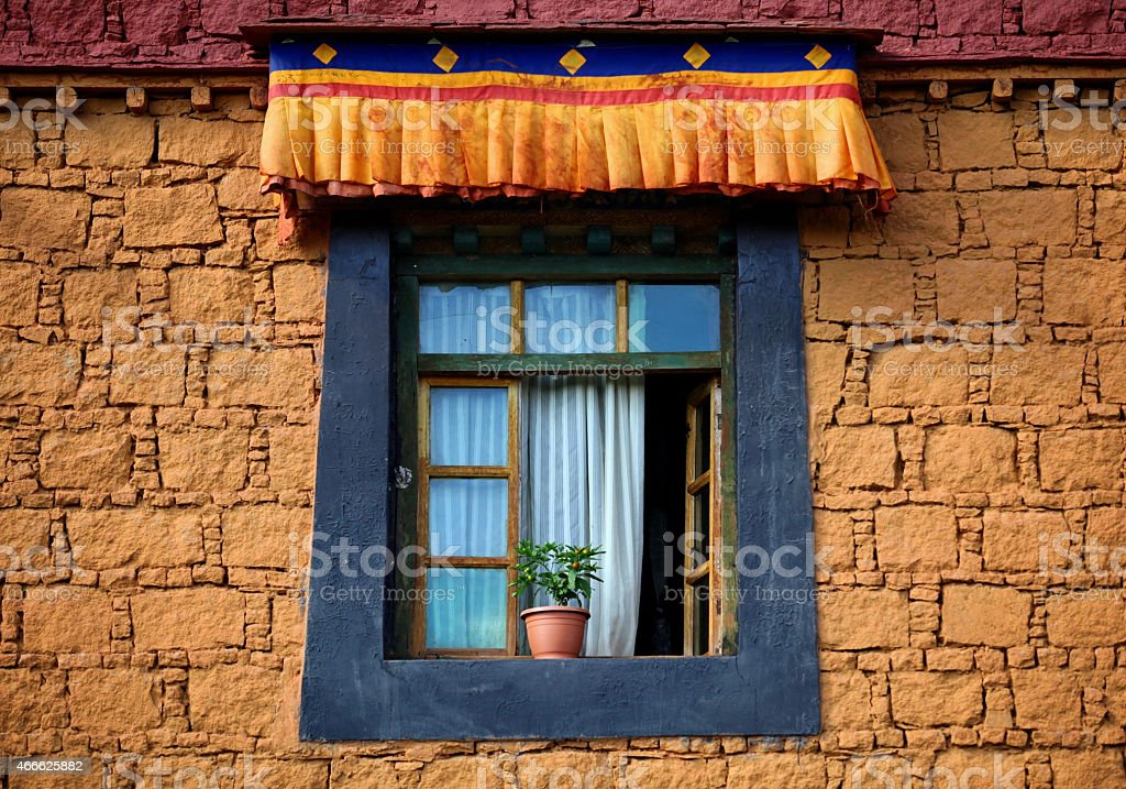 Tibetan window stock photo