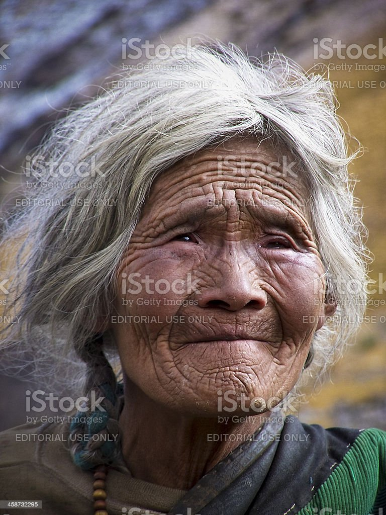 Tibetan Woman From Sakya County stock photo