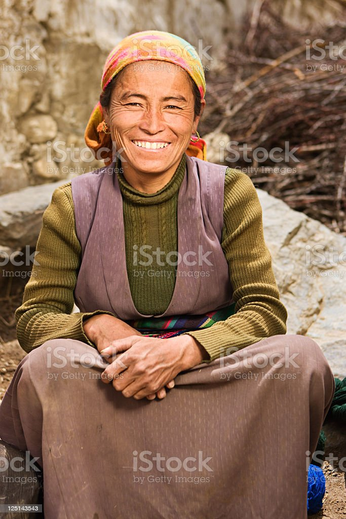 Tibetan woman in Mustang region stock photo