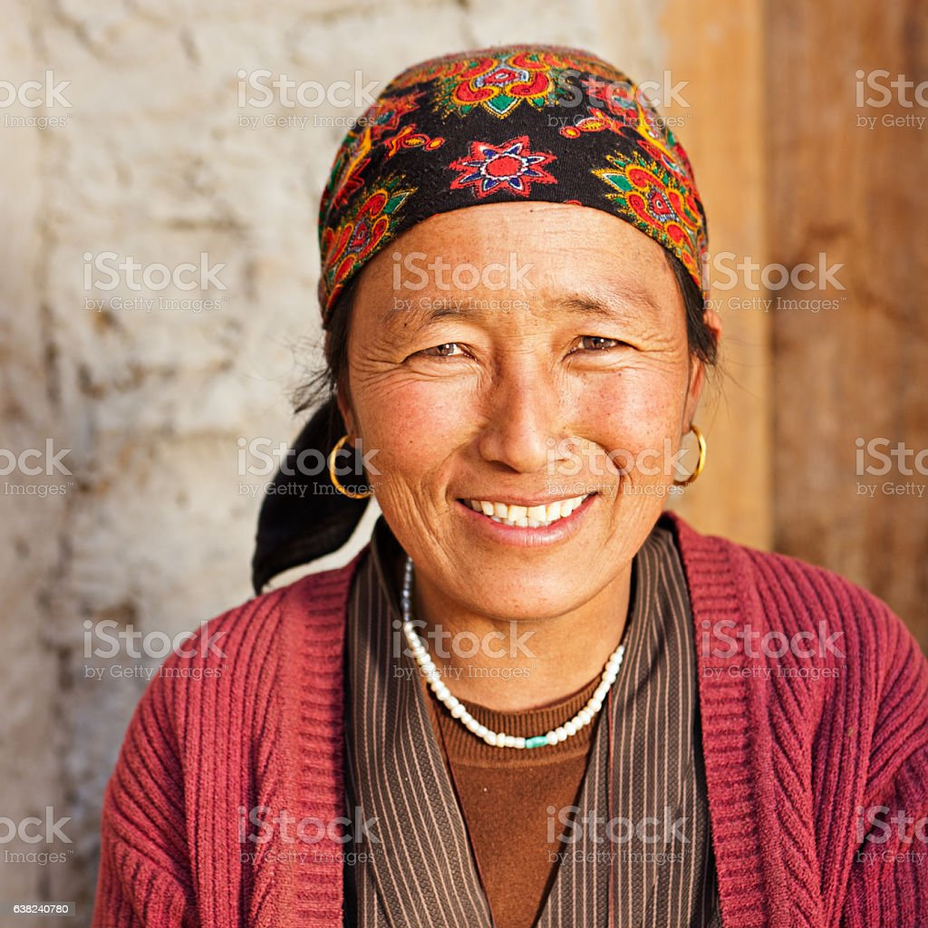 Tibetan woman, Lo Manthang, Upper Mustang stock photo