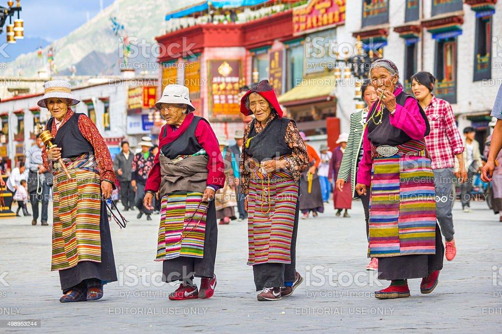 Tibetan Women Pilgrims in Lhasa Tibet China stock photo