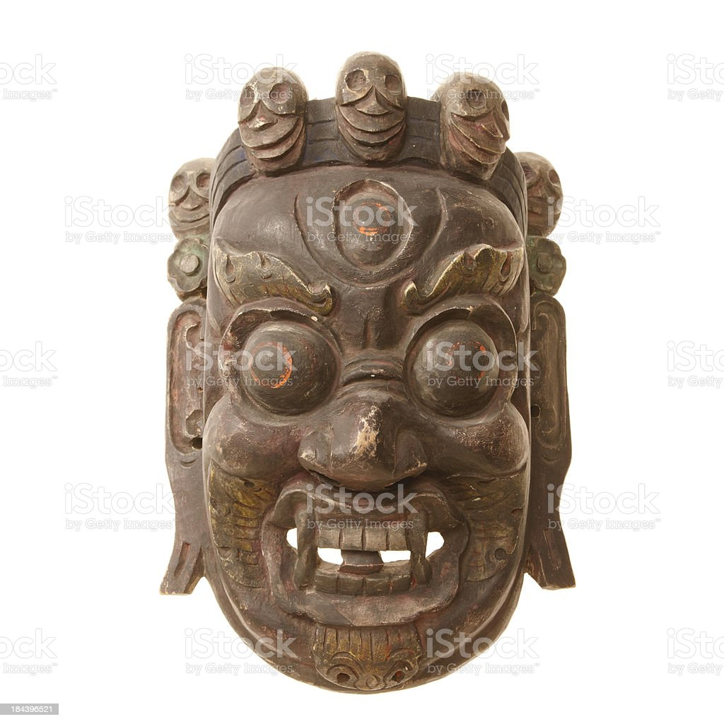 Tibetian mask isolated on white background stock photo