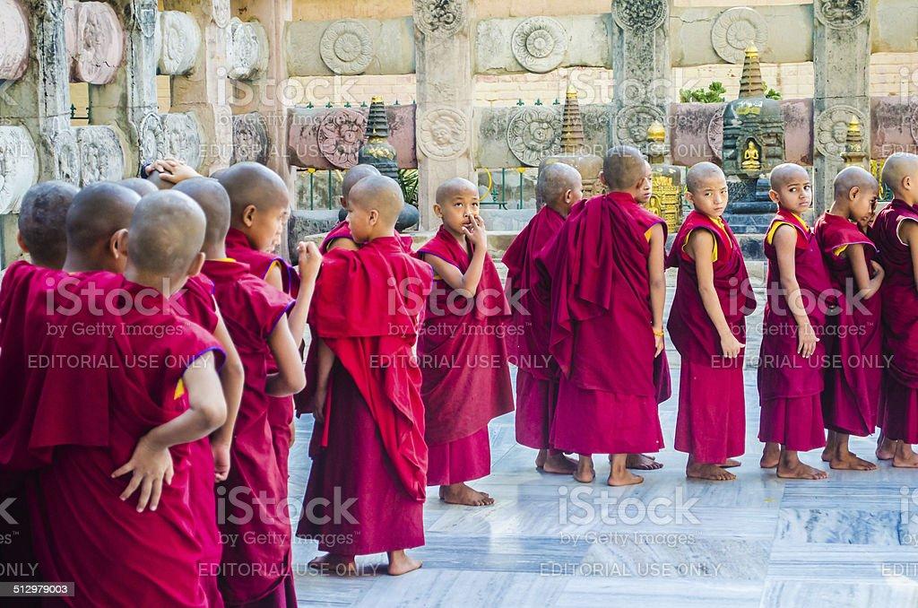Tibetian neophytes line up stock photo