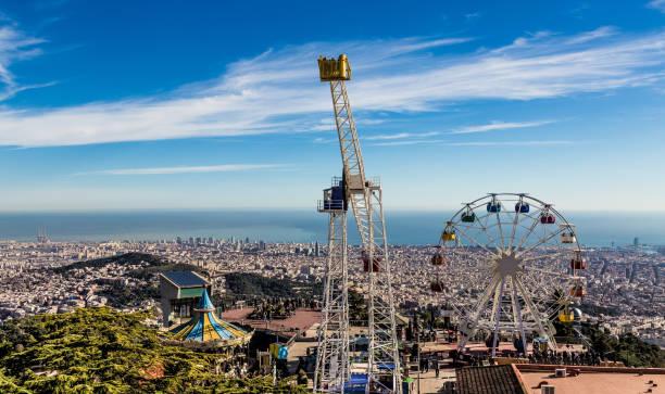Tibidabo Themenpark Panorama Barcelona Spanien Europa – Foto