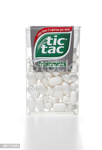 Miami, USA - January 17, 2015: tic tac freshmints plastic container. tic tac brand is owned by FERRERO S.P.A