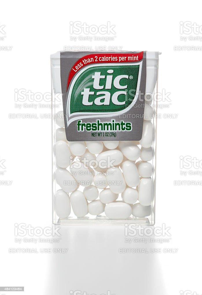 tic tac freshmints plastic container stock photo